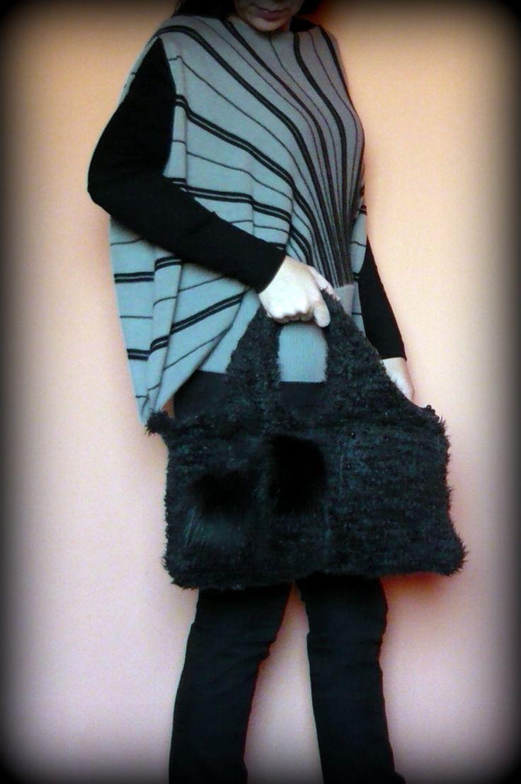 Handmade by Judy Majoros-  Gray Faux fur handbag. Faux fur pompom bag.Recycled bag