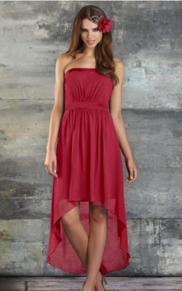 0 Strapless Natural A-line Asymmetrical Bridesmaid Dresses 074m014
