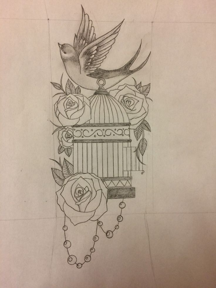 Tattoo I drew for a friend ✏️ cage, roses and bird