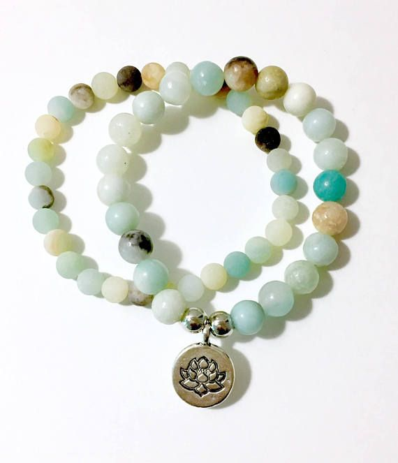 Amazonite bracelets set of 2 with Silver Lotus Charm