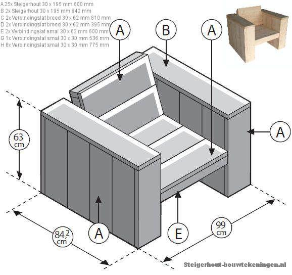 Loungefauteuil XL, bouwtekeningen en handleiding. Houten lounge #tuinstoel Tuinstoel XL, bouwtekening voor een steigerhout loungestoel.