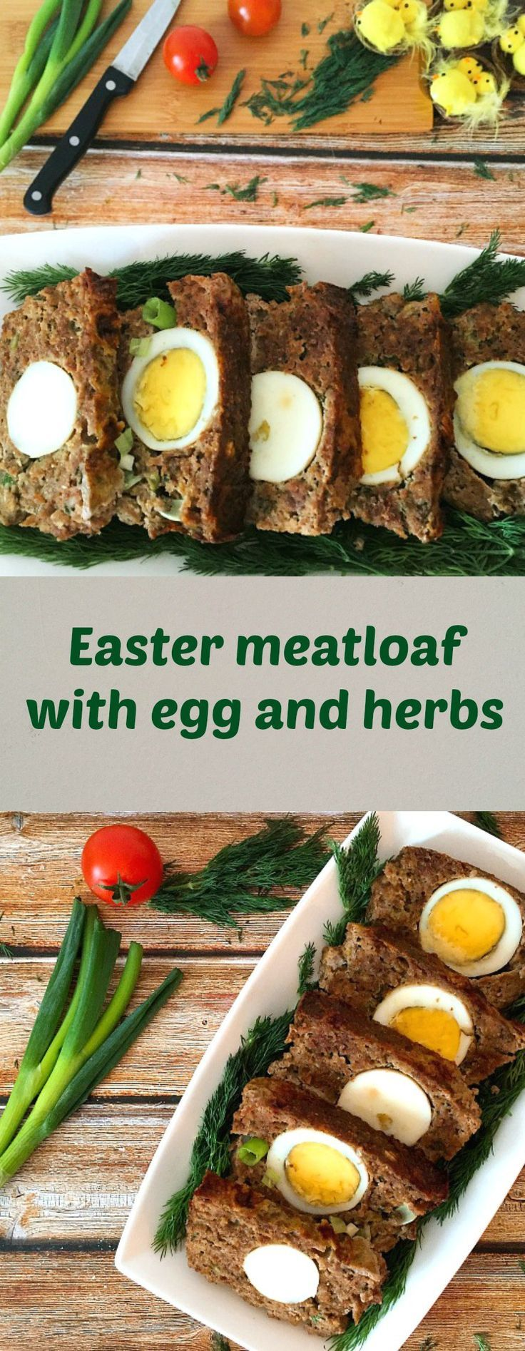 Easter meatloaf with egg and herbs, a delicious starter recipe for the Easter menu.