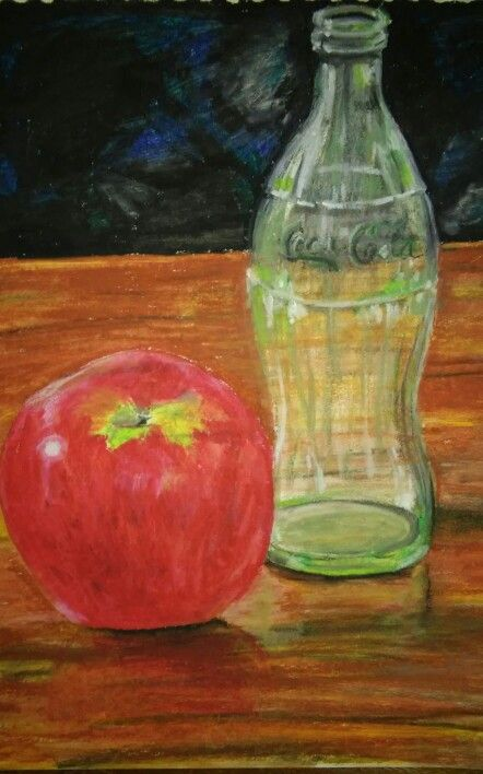 Apple and bottle still life by Caren. Oil pastels and turps. A3