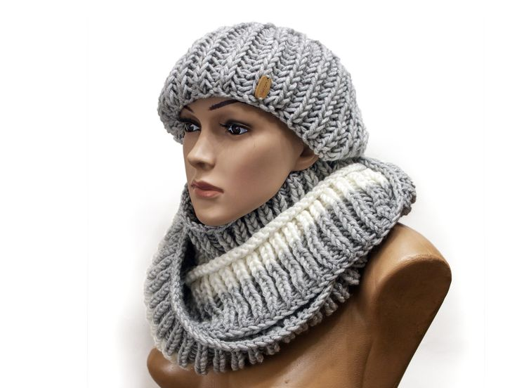 Scarf Hat Women set – Knitting winter gift her – Oversize scarf – Chunky hat – Warm winter scarf and women hat by LoveKnittings #KB3-04 – PRIGRIZ – Hats & Hatbands