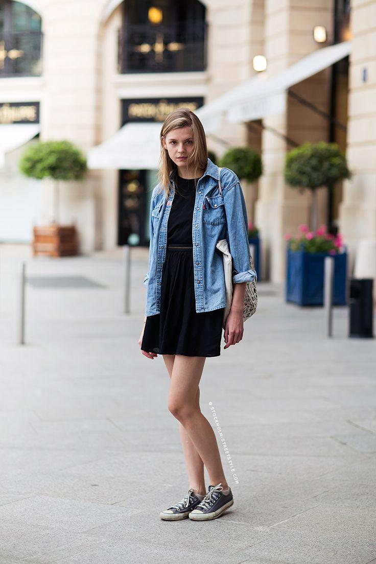 Basically looks like this dress denim jacket converse example - Kama Broniszewska Black Dress Denim Shirt Converse