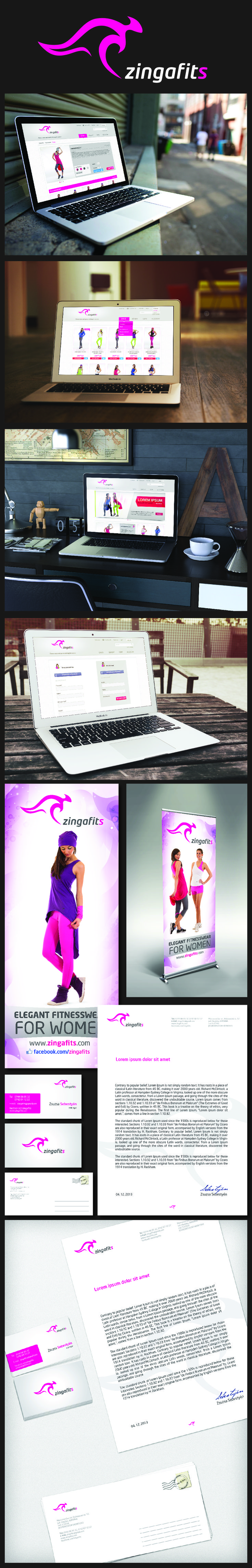 Logo - Business Card - Flyer - Rollup - Header - Webshop design - ZingaFitS Sportswear Company