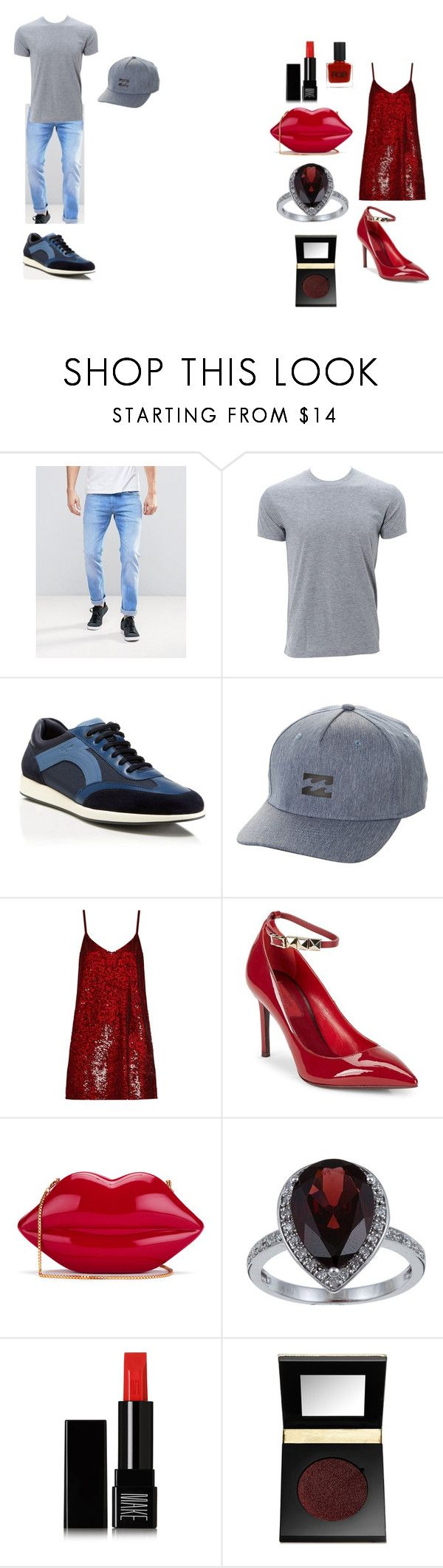 """Aquarius Man + Aries Woman"" by skyelynnalexis ❤ liked on Polyvore featuring Pepe Jeans London, Simplex Apparel, Salvatore Ferragamo, Billabong, Ashish, Valentino, Lulu Guinness, Viducci, Make and tarte"