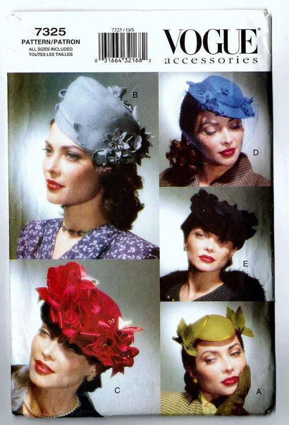 Vogue Vintage Accessories, Six Hats Circa 1940s All Sizes Vintage Vogue Pattern 7325