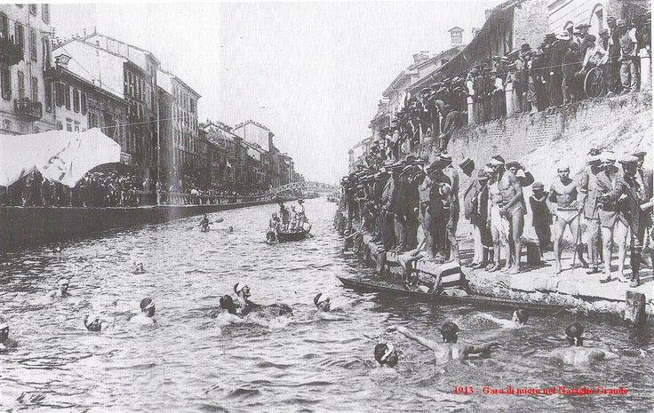 Gara di nuoto nel Naviglio Grande (1913)