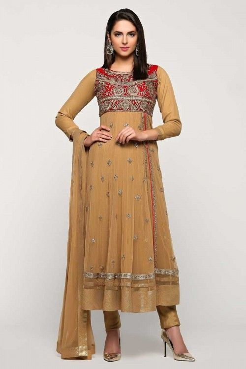 Buy gorgeous, Anarkali churidar net indian long suits, Beige zari embroidered dresses now in shop. Andaaz Fashion brings latest designer ethnic wear collection in UK   http://www.andaazfashion.co.uk/salwar-kameez/anarkali-suits/beige-net-anarkali-churidar-suit-with-dupatta-1772.html