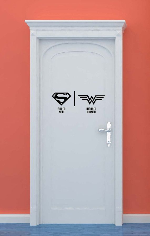 bathroom restrooms sign men women superman por vinylwalllettering