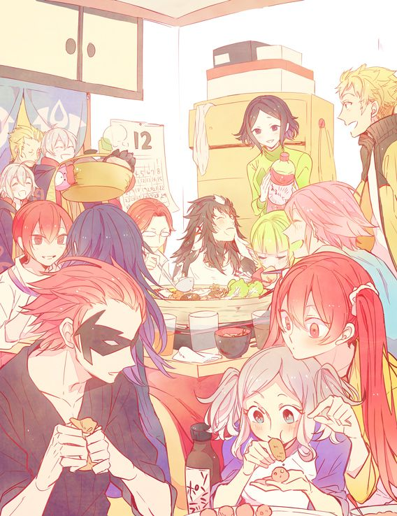 Fire Emblem: Awakening characters during dinner fan art.  How frigging cute is this?