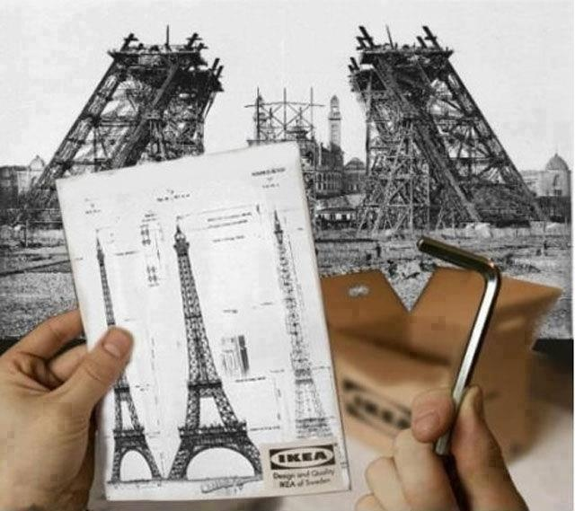 Follow instructions! :) Advertising for Ikea on how to build the Eiffel Tower. I thought this was pretty funny and witty at the same time. I can see this ad translating very well all over the world for different landmarks like the Golden Gate Bridge.