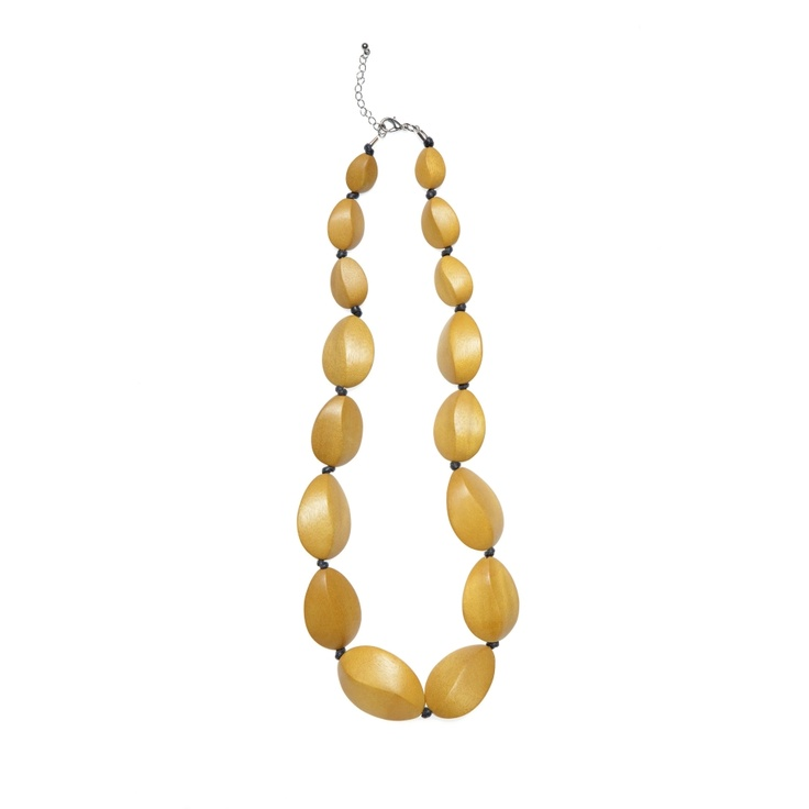 Elk Accessories - a light, every day necklace made from dyed, twist look wooden beads. $50