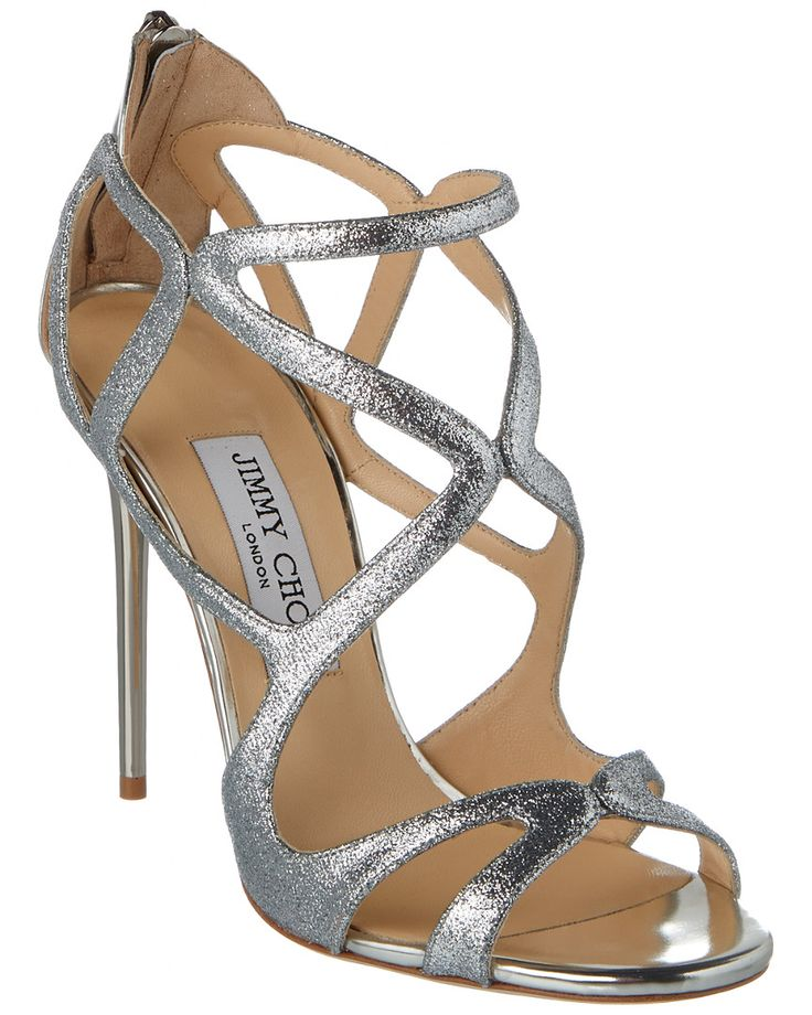 Jimmy Choo Leslie 110 Glitter Fabric & Leather Strappy Sandal