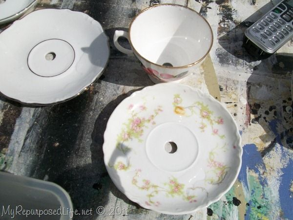 Drilling ~how to for making tea cup lamps