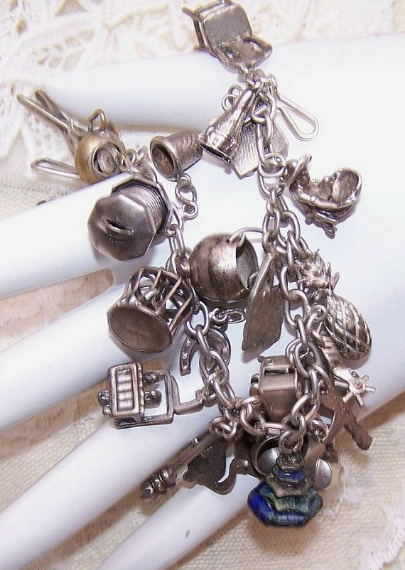 b2838d89e 1940s STERLING SILVER Charm Bracelet with 25 by RobinsNestMidwest, $195.00