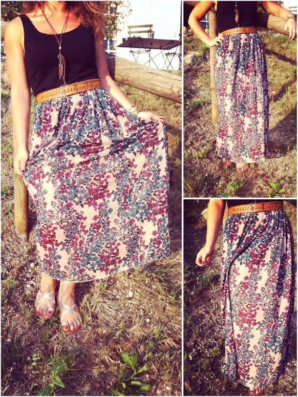 jupe longue facile à faire soi-même. tissu idéal : légé, fluide, et imprimé.