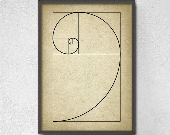 Espiral Fibonacci pared arte cartel - espiral de proporción áurea de números de Fibonacci - secuencia de Fibonacci - matemáticas - matemáticas estudiante imprimir