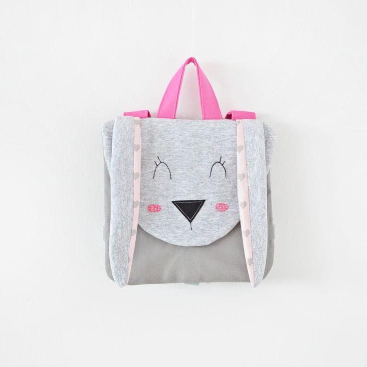 Sklep internetowy Lady Stump | Plecak Mały Królik #backpack #plecak #rabbit #bunny #grey #pink #handmade #kids #school #gift #kidsdesign #ladystump #poland ladystump.com