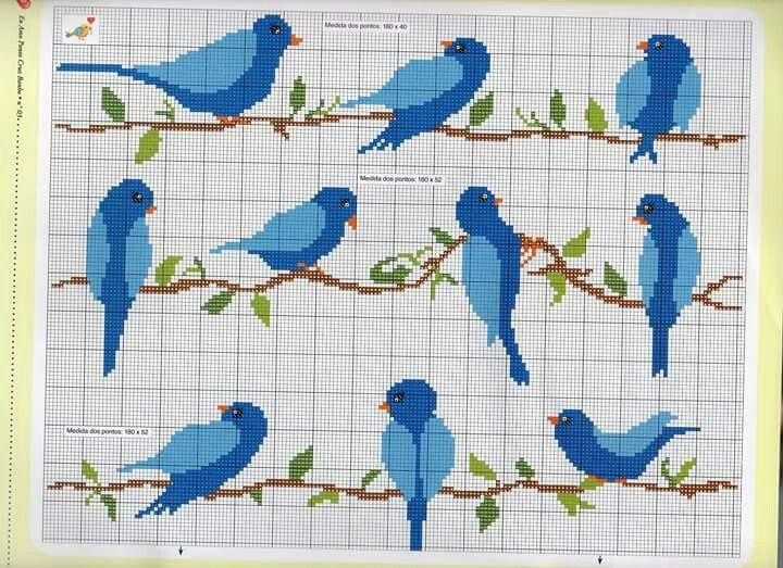 Blue birds in cross stitch