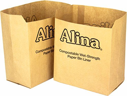50 X Alina 6l To 8l Compostable Paper Caddy Bin Bag / Food Waste Bin Liner / Biodegradable Brown 7 Litre Paper Sack With Alina Composting Guide (50 Bags)