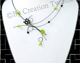 yellow and black necklace fun unique jewelry design bridal