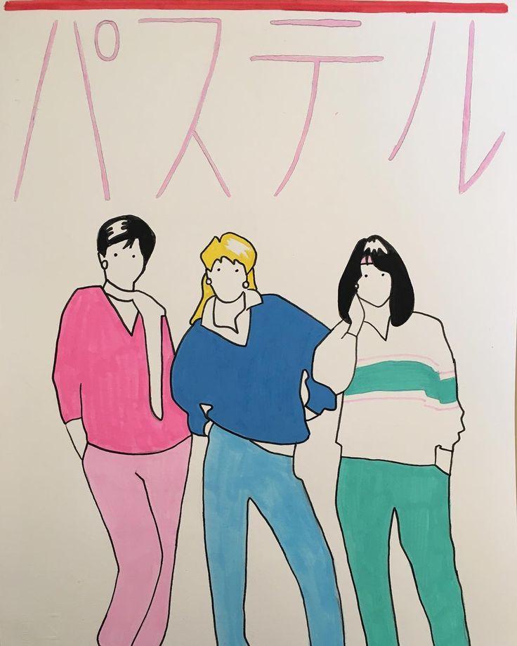 P A S T E L #illustration #drawing #posca #poscart #ポスカ #パステル #style #tracksuit #reebok #adidas #ladies #80s #hairstyle #art #retro #vintage #japan #colors #design #minimal #alessiovitelli #2017