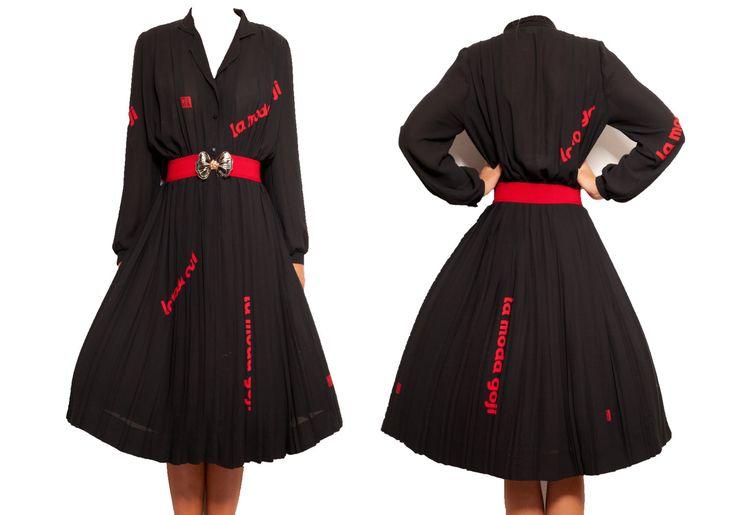 Black Midi Tokyo dress | pleated | women's dresses | 50's 60's 70's | wedding | Bridesmaid | tea party | vintage dresses | women's clothing by VintageCosmopolitan on Etsy