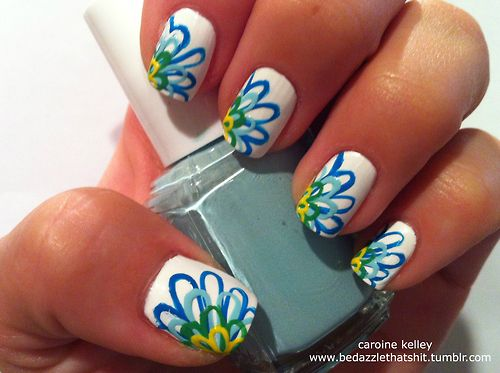 Nails Art, Cute Nails, Flower Design, Nails Design, Spring Nails, Flower Nails, Summer Nails, Flower Power, Nails Polish