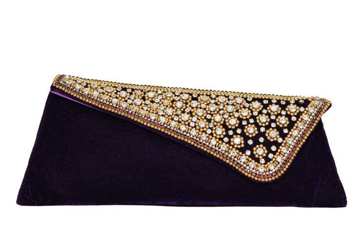 Stylish Embellishment Decorative Clutch in Purple-Bags-moKanc
