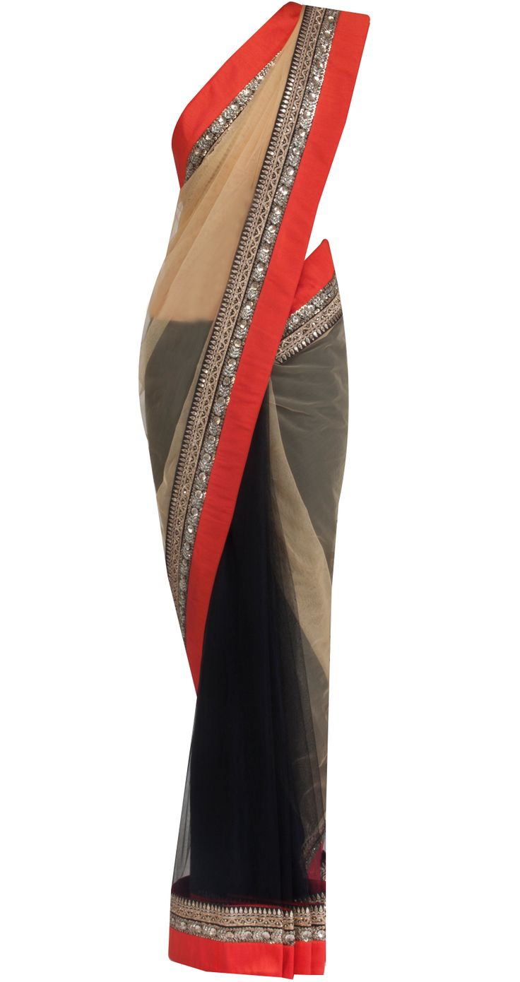 Black georgette and net sari by SABYASACHI. Shop at https://www.perniaspopupshop.com/whats-new/sabyasachi-20