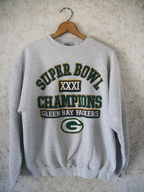 90s Super Bowl XXXI Champions Green Bay Packers Gray Crewneck Sweatshirt  1997 Pullover Graphic G Logo 7 Unisex Retro Vintage Mens Large 55a8ca8b0