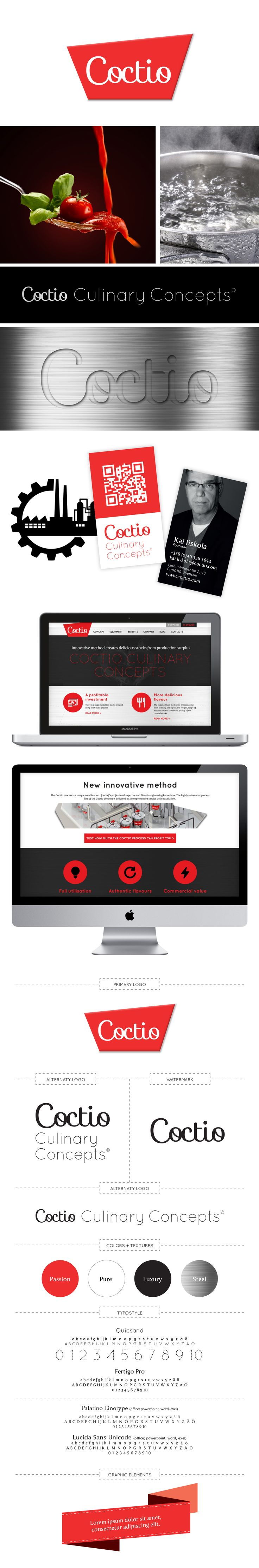 Asiakas: Coctio Culinary Consepts Avainsanat: yritysilme, logosuunnittelu, värimaailma, typografia, graafiset elementit, käyntikortit, verkkosivuston suunnittelu, responsive web design