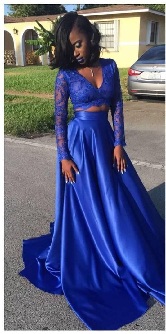 Two Pieces Party Dressblack Girl Prom Dresslong Sleeves Prom Gown