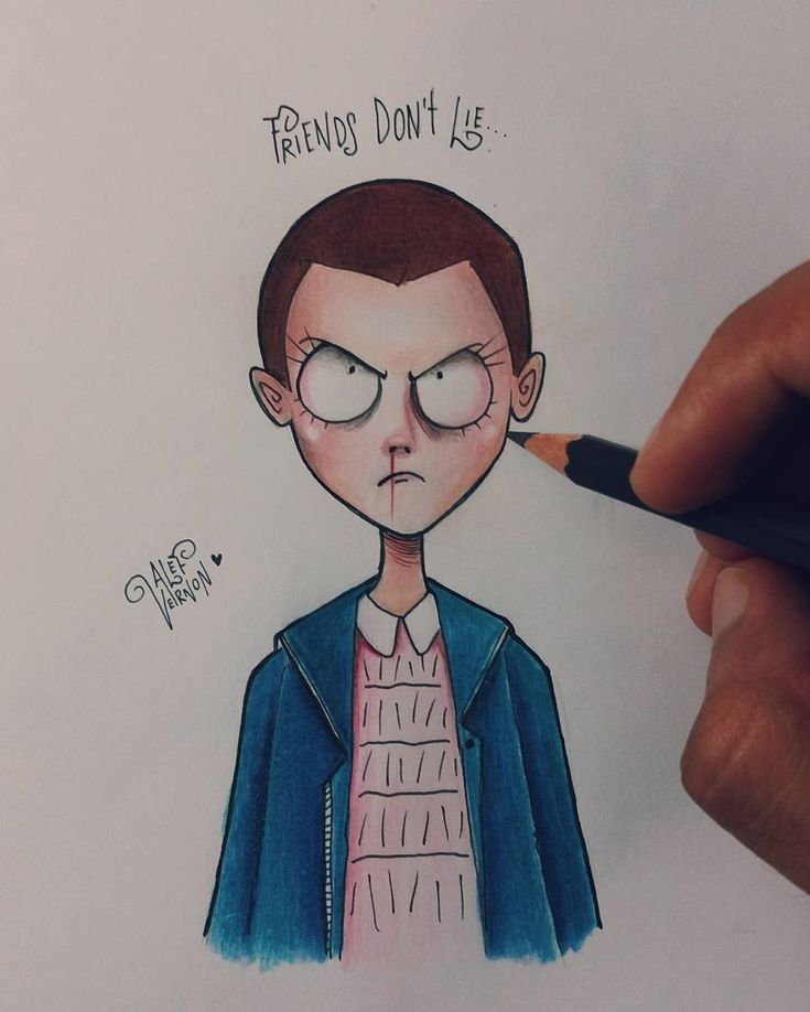 """Eleven from Stranger Things + Tim burton's Style ❤ @milliebobby_brown  I want to draw some tv shows…"""""""