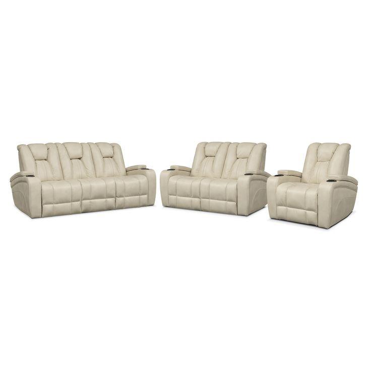 Pulsar Dual Power Reclining Sofa, Dual Power Reclining Loveseat And Power Recliner Set - Cream