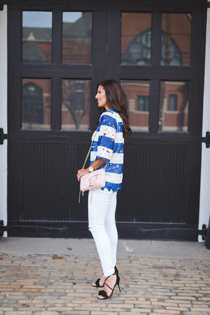 stripe crochet top, spring fashion, stripe spring outfit, fringe heels, blush crossbody bag // grace wainwright from @asoutherndrawl