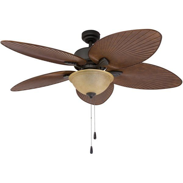 52 Cosgrave Palm Tropical 5 Blade Ceiling Fan Light Kit Included