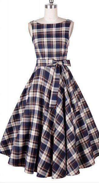 plaid full skirt midi dress