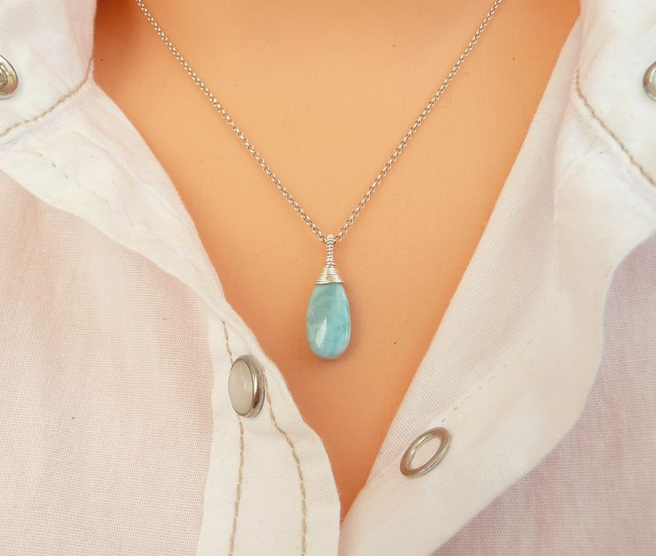 A personal favorite from my Etsy shop https://www.etsy.com/listing/538321252/larimar-necklace-sterling-silver-larimar