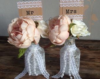10x rustic burlap and navy blue lace covered mason jar vases