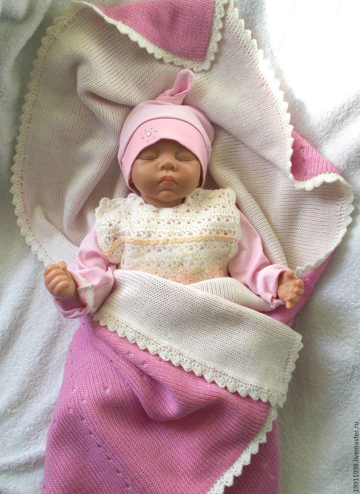 Купить Комплект На выписку Бело-розовый - белый, плед, плед для новорожденного, плед крючком
