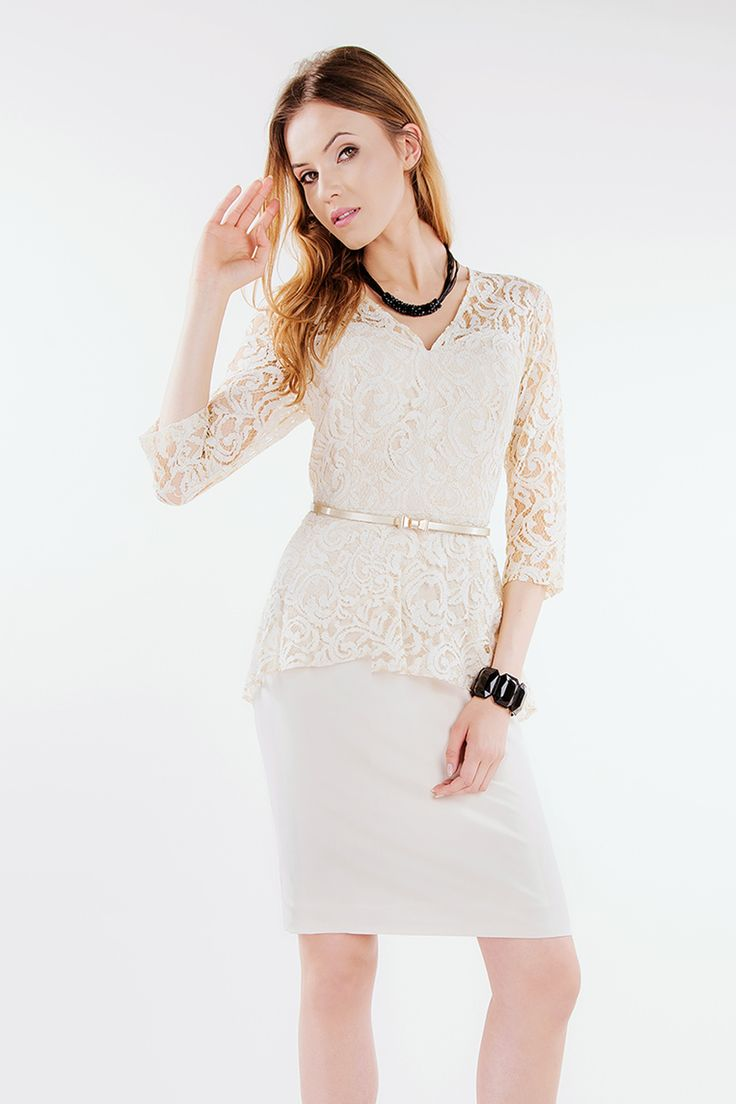 Suknia koronkowa Brygida beżowa Semper