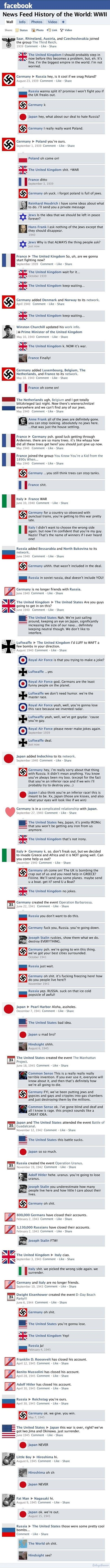 If countries had Facebook during WWII…  this is actually an interesting idea to get students thinking about history