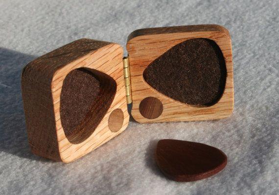 wooden guitar pick box ooak red oak hard wood felt by debandf, $20.95