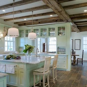 Mint Green Cabinets In A Beautiful Kitchen With Reclaimed