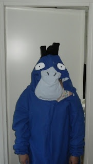 The first (and currently only) kigurumi I made all by myself. (Autumn 2012). It's a shiny Psyduck!
