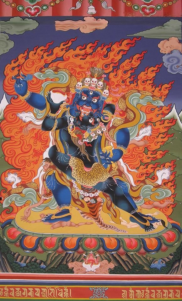 Dorje Drakpo Tsal - Powerful Vajra Wrath A wrathful form of Guru Rinpoche. When Padmasambhava was in 'The Rugged Forest' Parushakavana charnel ground, Vajravarahi appeared to him, and blessed him. He subdued nagas of the oceans and planetary spirits of the heavens; wisdom dakas and dakinis granted him supernatural powers and siddhis, and he was known as Dorjé Drakpo Tsal, 'Wrathful Vajra Might'