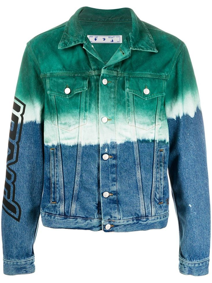 Green/white/blue cotton-denim degradè denim jacket from OFF-WHITE featuring tie-dye print, gradient effect, logo print to the rear, embroidered logo at the sleeve, two chest flap pockets and two side slash pockets. Off White Jean Jacket, H&m Denim Jacket, Estilo Jeans, Loose Fit Jeans, Printed Denim, Denim Fashion, Jeans Style, Tie Dye, Blue Green
